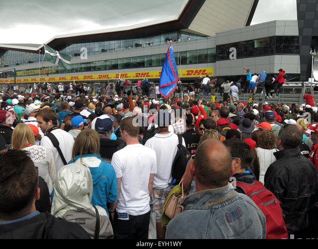 Crowds at Silverstone British Grand Prix F1 - Stock Image