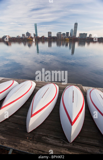 Boats at the riverside with buildings in the background, Charles River, Boston, Suffolk County, Massachusetts, USA - Stock Image