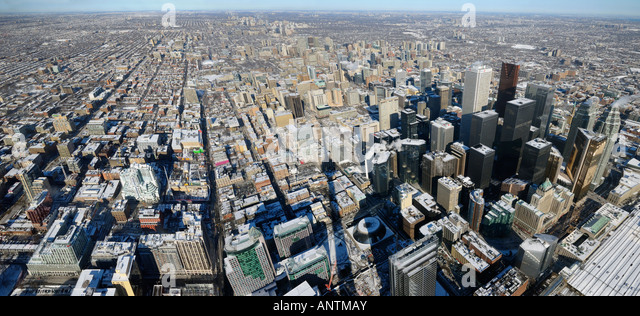 Panoramic view of downtown highrises and Toronto North in winter from CN Tower - Stock Image