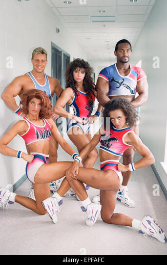 Gladiators Photocall. 20th June 1992.  Cobra - Michael Willson Flame - Kimbra LeAnne Standish Panther - Helen O'Reilly - Stock Image