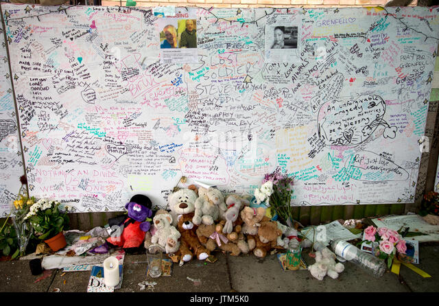 Grenfell Tower, West London. Aftermath of the tragedy. Memorial to victims of the fire. - Stock Image