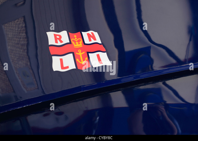 RNLI logo on the side of Wells lifeboat. - Stock Image