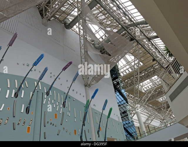 Roof and arty lighting inside St Enoch Shopping retail shopping centre Glasgow - Stock Image