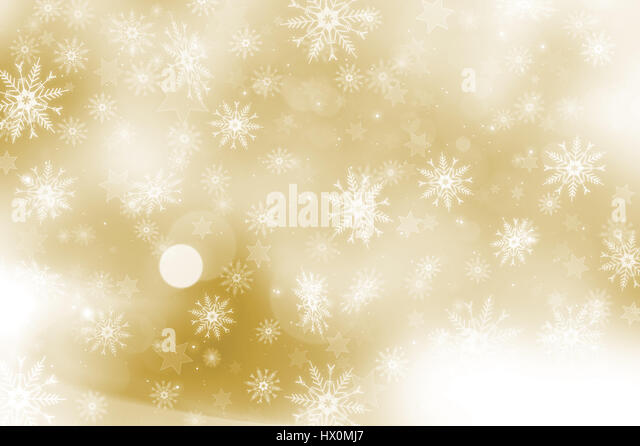 Gold Christmas background with snowflakes and stars design - Stock Image