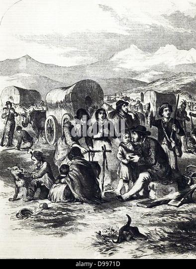 California emigrants. Pioneer life illustrated in 1856 - Stock Image