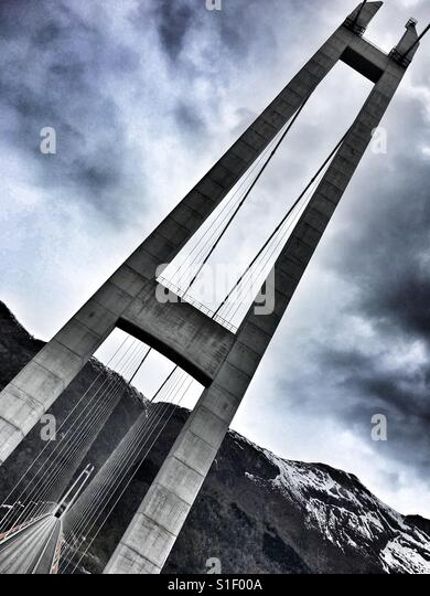 Bridge over Hardanger fjord, Norway - Stock Image
