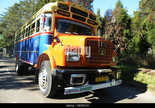 An old Tata bus in Shillong, India. - Stock Image