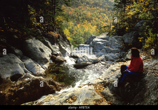 New Hampshire White Mountains National Forest Pinkham Notch Upper Glen Ellis Falls - Stock Image