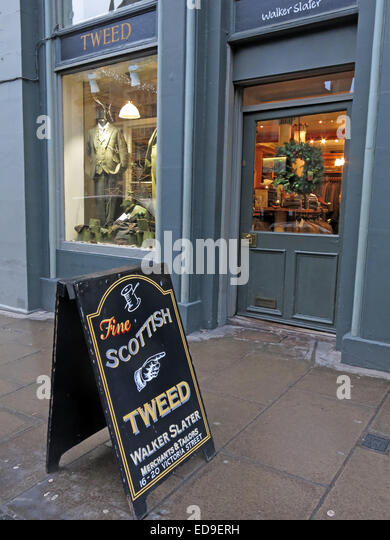 The Scottish Tweed Shop Edinburgh Victoria St Scotland - Stock Image