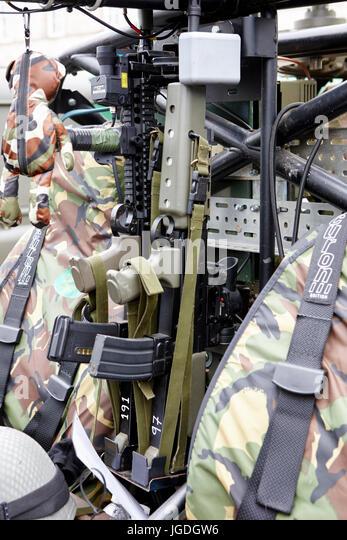 SA80 rifles weapons mounted on a british army vehicle uk - Stock Image