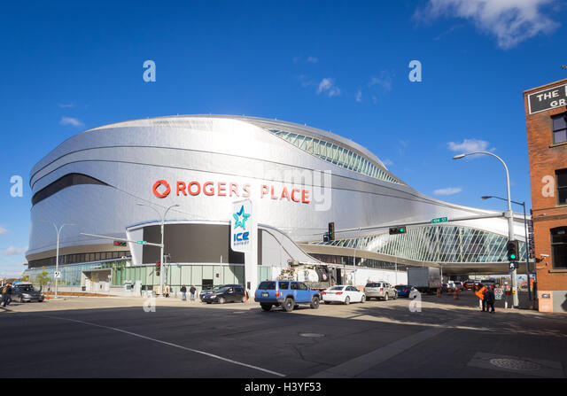 Rogers Place, a multi-use indoor arena in the Ice District of downtown Edmonton, Alberta, Canada. - Stock Image