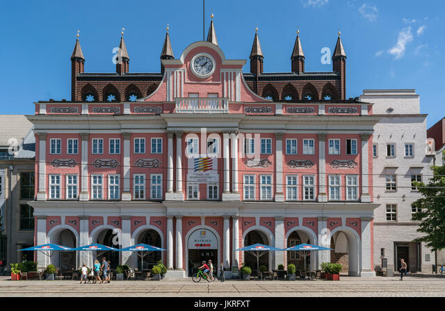 City Hall, Rathaus, Rostock , Mecklenburg-Vorpommern, - Stock Image