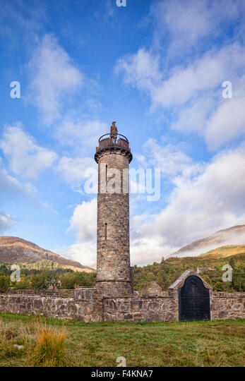 The Glenfinnan Monument at the head of Loch Shiel, Lochaber, Highland, Scotland. It marks the starting place of - Stock-Bilder