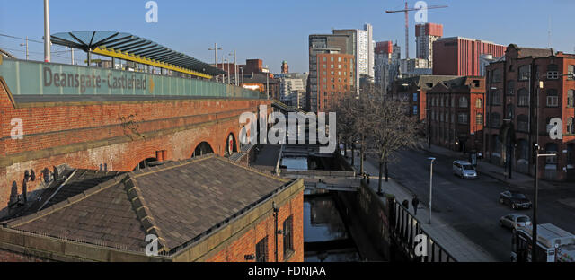 Deansgate-Castlefield station and area in Manchester, England, UK, M3 4LG - Stock Image