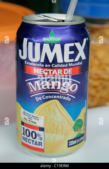 Panama City Panama Jumex Mexican company brand export import juice can mango drink beverage from concentrate Spanish - Stock Image