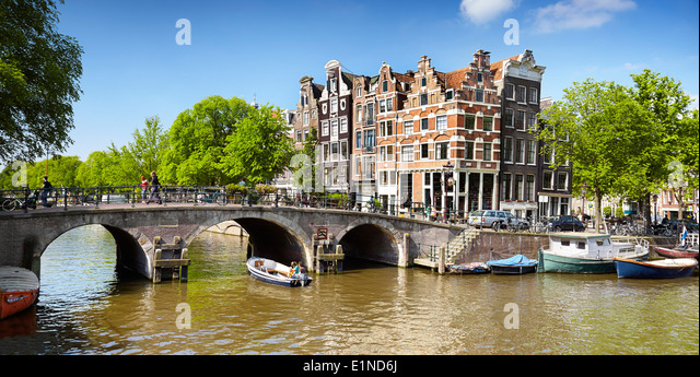Amsterdam canal - Holland Netherlands - Stock Image