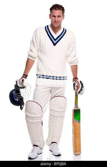 Cricketer, studio shot on white background. - Stock Image