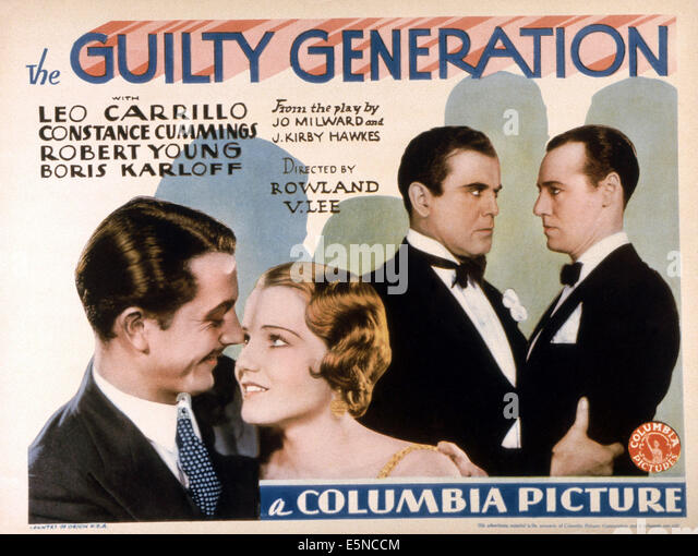 THE GUILTY GENERATION, front from left: Robert Young, Constance Cummings, rear from left: Leo Carrillo, Leslie Fenton, - Stock Image