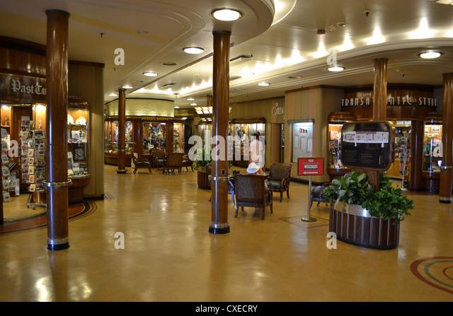 The shopping arcade aboard the RMS Queen Mary, Long Beach, California - Stock Image