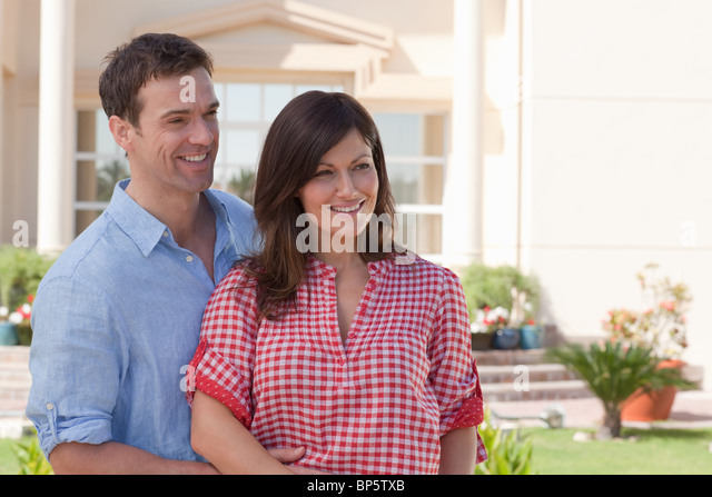 Happy couple in garden - Stock Image