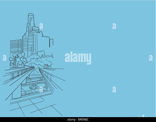 An illustration of a busy downtown - Stock-Bilder
