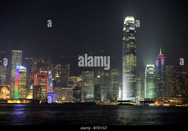Night scene of Hong Kong you can see the pollution - Stock Image