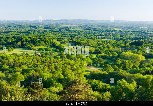 Mixed countryside from Pitch Hill, Surrey, UK - Stock-Bilder