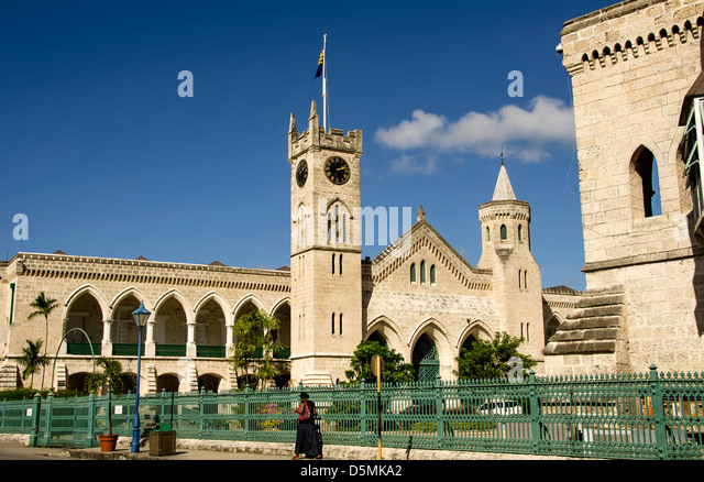 Parliament buildings and metal fence, Bridgetown Barbados - Stock Image