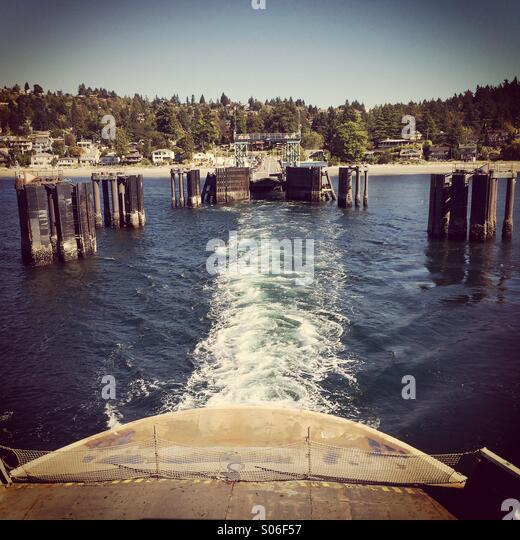 Ferry dock, Fauntleroy, Seattle, Puget Sound, Washington - Stock Image
