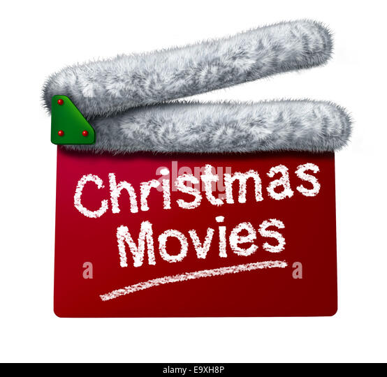 Christmas movies and holiday classic cinema and TV flicks with a red clapperboard and a Santa Clause hat white fur - Stock Image