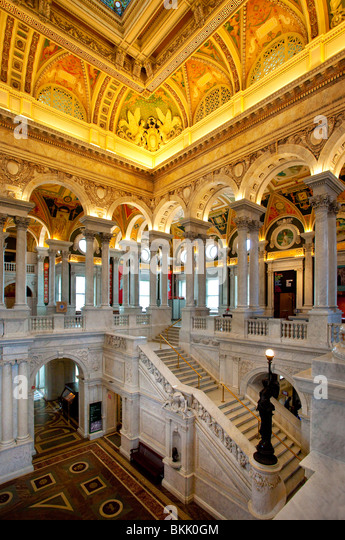 Ornate architecture inside the Jefferson Building of the Library of Congress, Washington DC USA - Stock-Bilder