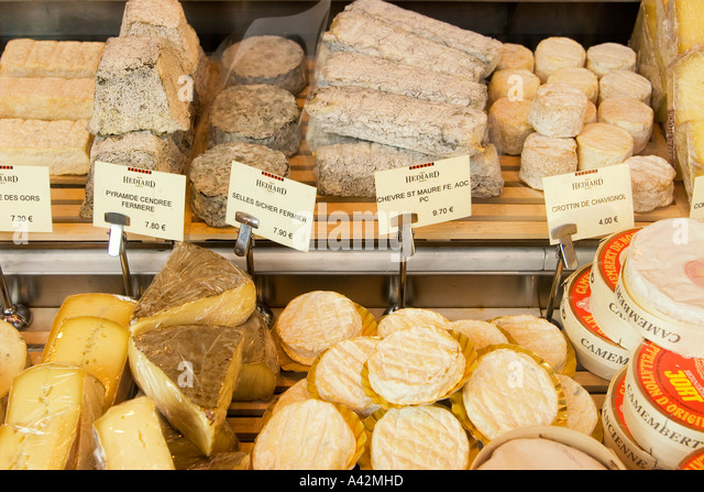 Paris France Place de la Madeleine Hediar cheese shop window - Stock Image
