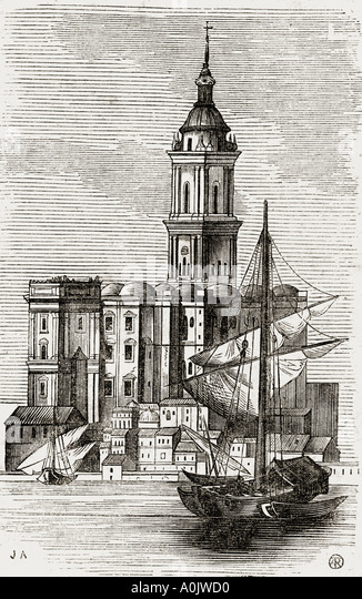 Malaga Cathedral and Boats From 19th century print - Stock Image