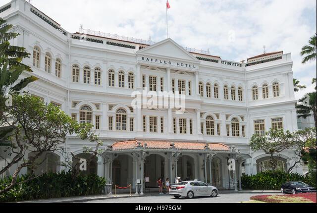 Main entrance, Raffles Hotel Singapore, Beach Road, Singapore Island, Singapore - Stock Image