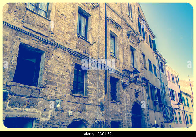 Alghero old town in a vintage tone - Stock Image