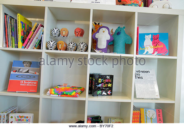 North Miami Florida MOCA Museum of Contemporary Art gift shop books display toys - Stock Image