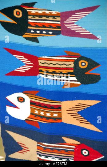 Chile Santiago Pueblito de Los Domínicos shopping colorful fish tapestry - Stock Image