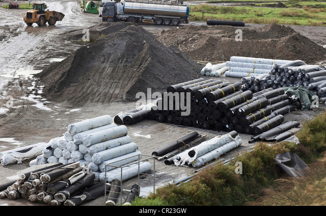 Material in garbage collection center - Stock Image