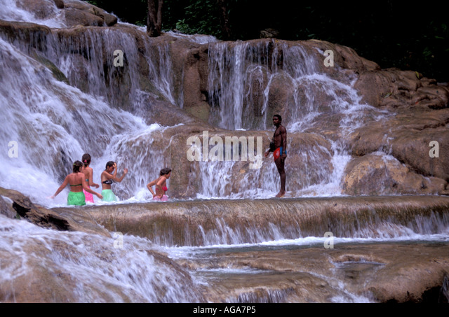 Jamaica Dunns River Falls Ocho Rios Jamaican landmark - Stock Image