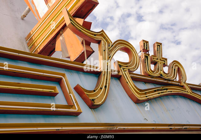 Alabama Greenville Commerce Street Ritz Theater marquee neon sign - Stock Image