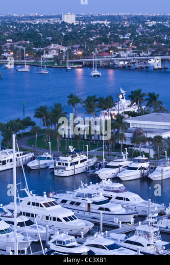 USA, Florida, Fort Lauderdale, Intracoastal Waterway / Bahia Mar Yacht Basin - Stock-Bilder