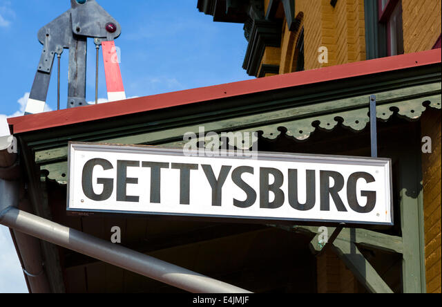 Historic Gettysburg Train Station in dowtown Gettysburg, Adams County, Pennsylvania, USA - Stock Image