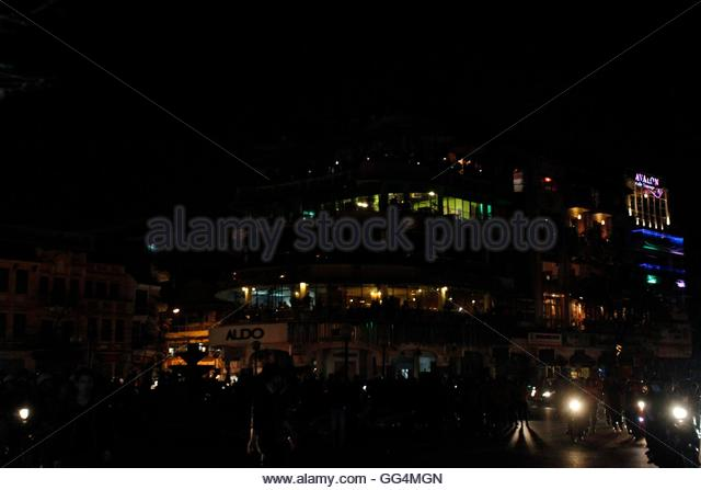 The 'Ham Ca Map' building is seen during Earth Hour in Hanoi March 31, 2012. Earth Hour, when everyone around - Stock Image