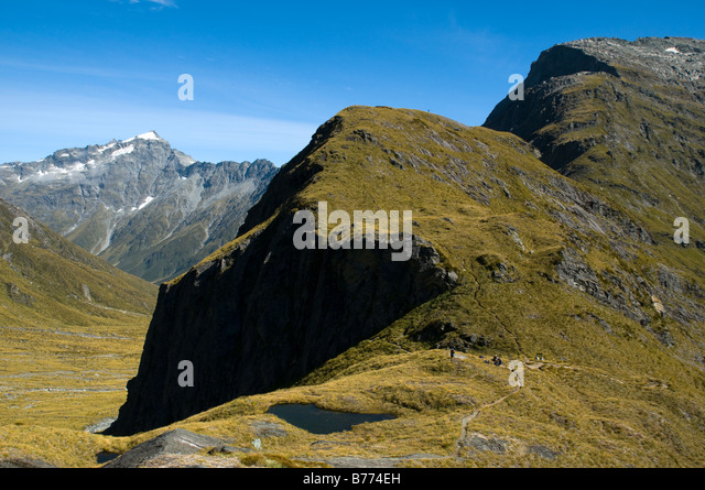 The Rees Saddle, Rees Dart track, South Island, New Zealand - Stock Image