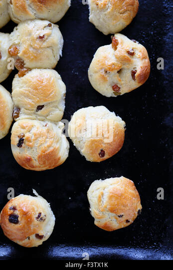 Buns with raisins. Tasty food - Stock Image