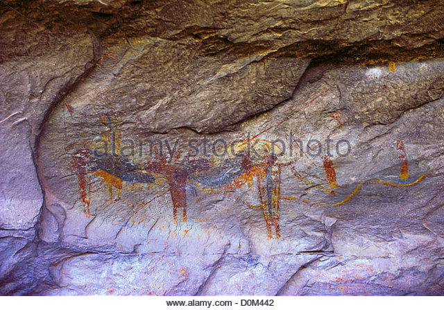 Shaman Polychrome Pictographs Seminole Canyon State Historical Park Texas USA. Polychrome pictographs on wall Fate - Stock Image
