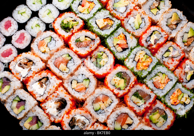 Japanese sushi rolls. View from above. - Stock Image