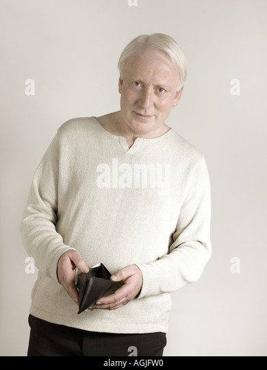 Man with empty wallet - Stock Image