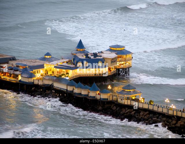 Rosa Nautica Restaurant on pier in Miraflores district -  Lima, Peru - Stock Image