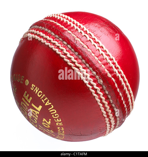 a traditional leather cricket ball on a white background - Stock Image